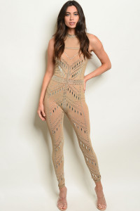 S6-9-4-J11409 TAUPE WITH STONES PRINT JUMPSUIT 2-2-2