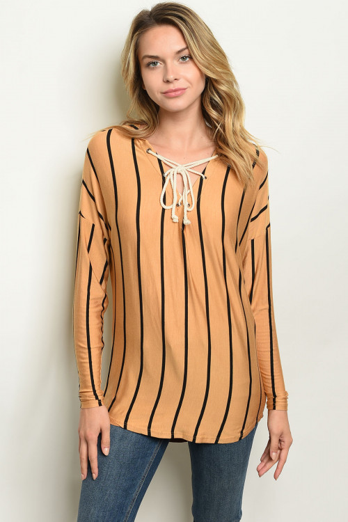 C13-B-3-T13741 MUSTARD STRIPES TOP 3-2-1