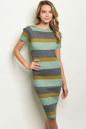 S20-11-5-D170513 SAGE STRIPES DRESS 3-3