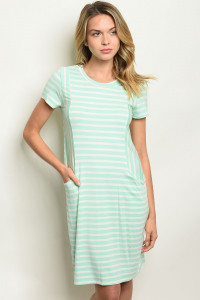C72-A-4-D1112 MINT STRIPES DRESS 2-2-2