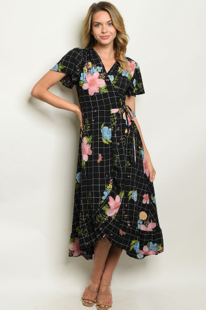C84-A-7-D0722 BLACK CHECKERED FLORAL DRESS 2-2-2