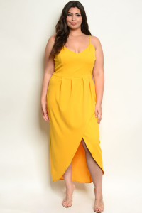 C11-A-4-D2059X YELLOW PLUS SIZE DRESS 2-2-2