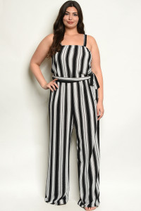 C18-A-3-J2027X BLACK STRIPES PLUS SIZE JUMPSUIT 2-2-2