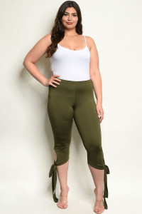 C53-A-4-P14120X OLIVE PLUS SIZE PANTS 3-2-1