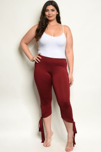 C51-A-3-P14120X BURGUNDY PLUS SIZE PANTS 3-2-1
