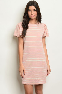 S11-2-5-D4187 PINK STRIPES DRESS 2-2-2