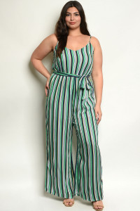 S11-6-5-J38746X GREEN STRIPES PLUS SIZE JUMPSUIT 2-2-2