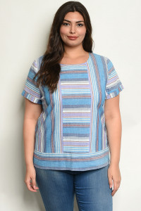 S11-6-5-R59618X BLUE STRIPES PLUS SIZE TOP 2-2-2