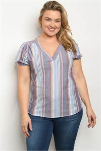 S11-9-5-T10383X BLUE STRIPES PLUS SIZE TOP 2-2-2