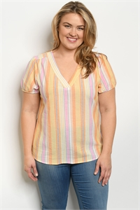 S11-9-5-T10383X ORANGE STRIPES PLUS SIZE TOP 2-2-2