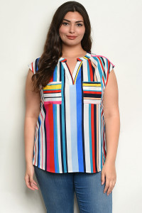 S11-4-5-T10382X RED MULTI STRIPES PLUS SIZE TOP 2-2-2