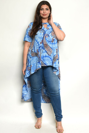 C30-A-7-T3944X BLUE WITH PAISLEY PRINT PLUS SIZE TOP 2-2-2