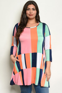 C32-A-5-D4321X MULTI COLOR PLUS SIZE TOP 2-2-2