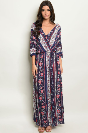 C57-A-4-D6325 NAVY WITH FLOWER PRINT DRESS 2-2-2