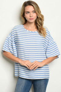 C17-B-2-T2123 BLUE WHITE STRIPES TOP 2-2-2