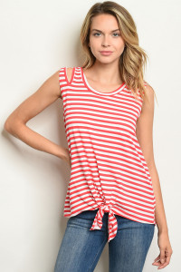C13-B-2-T2221 CORAL STRIPES TOP 2-2-2