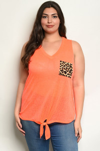 C2-B-3-T2199X NEON ORANGE PLUS SIZE TOP 2-2-2
