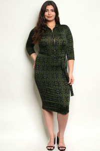 C91-A-4-D507455X BLACK GREEN PLUS SIZE DRESS 2-2-2