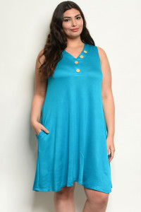 C18-A-2-D1090X TURQUOISE PLUS SIZE DRESS 2-2-2