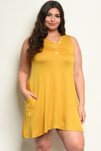 C18-A-5-D1090X MUSTARD PLUS SIZE DRESS 2-2-2