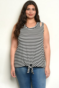 C4-B-4-T2221X BLACK STRIPES PLUS SIZE TOP 2-2-2