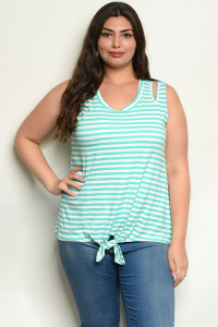 C4-B-5-T2221X MINT STRIPES PLUS SIZE TOP 2-2-2