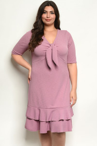 C77-A-6-D13490X MAUVE PLUS SIZE DRESS 2-2-2