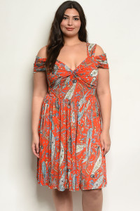 C73-A-4-D222X ORANGE WITH PAISLEY PRINT PLUS SIZE DRESS 2-2-2