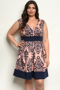 C61-A-3-D13620X PINK NAVY PLUS SIZE DRESS 2-2-2