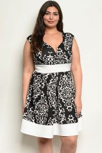 C55-A-4-D13620X BLACK IVORY PLUS SIZE DRESS 2-2-2