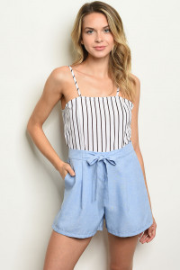 S3-9-2-R5369 WHITE BLUE STRIPES ROMPER 2-2-2
