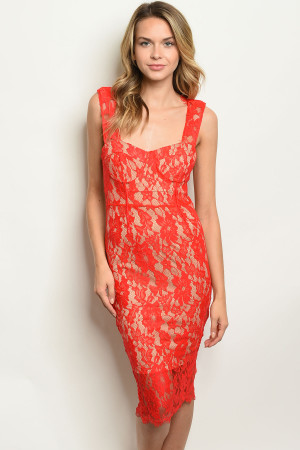 S8-1-2-D8654 RED TAN DRESS 2-2-2