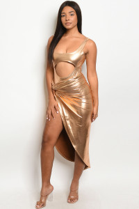 C24-A-2-SET10546 GOLD BODYSUIT & SKIRT SET 3-2-1  ***WARNING: California Proposition 65***
