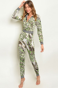 C32-A-7-J10483 NEON LIME TAUPE PRINT JUMPSUIT 3-2-1