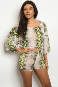 C42-B-6-SET31186 NEON LIME SNAKE ANIMAL PRINT TOP & SHORT SET 3-2-1