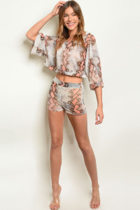 C41-B-1-SET31186 PEACH SNAKE ANIMAL PRINT TOP & SHORT SET 2-2-1