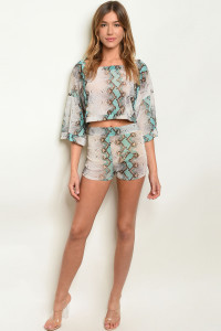 C14-B-7-SET31186 BLUE SNAKE ANIMAL PRINT TOP & SHORT SET 3-2-1