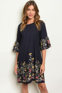C17-A-1-D0643 NAVY WITH FLOWER PRINT DRESS 2-1