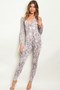 C52-A-3-J10464 PINK ANIMAL PRINT JUMPSUIT 3-2-1