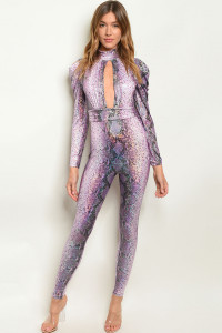 C89-A-1-J10406 PURPLE SNAKE ANIMAL PRINT JUMPSUIT 2-2