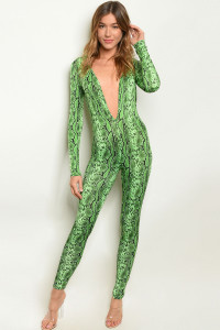 C94-A-6-J10446 GREEN SNAKE ANIMAL PRINT JUMPSUIT 3-2-1