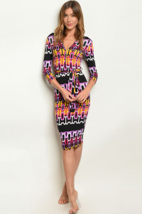 C94-A-4-D50745 BLACK LAVENDER PRINT DRESS 3-2-1