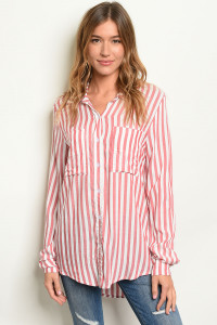 C2-B-1-T217618 RED WITH STRIPES TOP 3-4