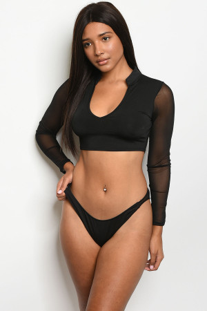 S10-15-4-SET31085 BLACK TOP & BIKINI SET 2-2-3