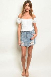 S3-4-2-S7171 MEDIUM DENIM WITH PEARL SKIRT 3-2-1