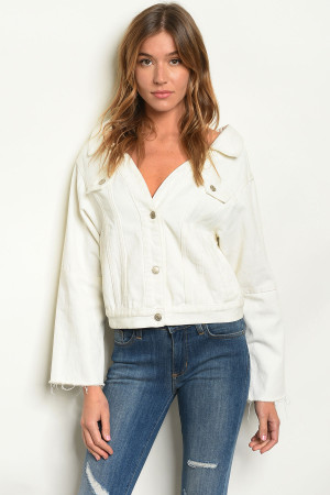 S4-8-2-J5265 WHITE DENIM JACKET 3-2-1