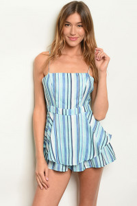 S4-7-2-R5383 BLUE MINT STRIPES ROMPER 3-2-1