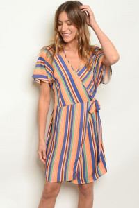 C47-A-7-D5137 ORANGE STRIPES DRESS 2-2-2