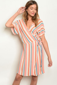 C45-A-2-D5137 IVORY STRIPES DRESS 2-2-2