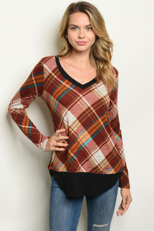 C76-A-2-T1042 BRICK CHECKERED TOP 2-2-2